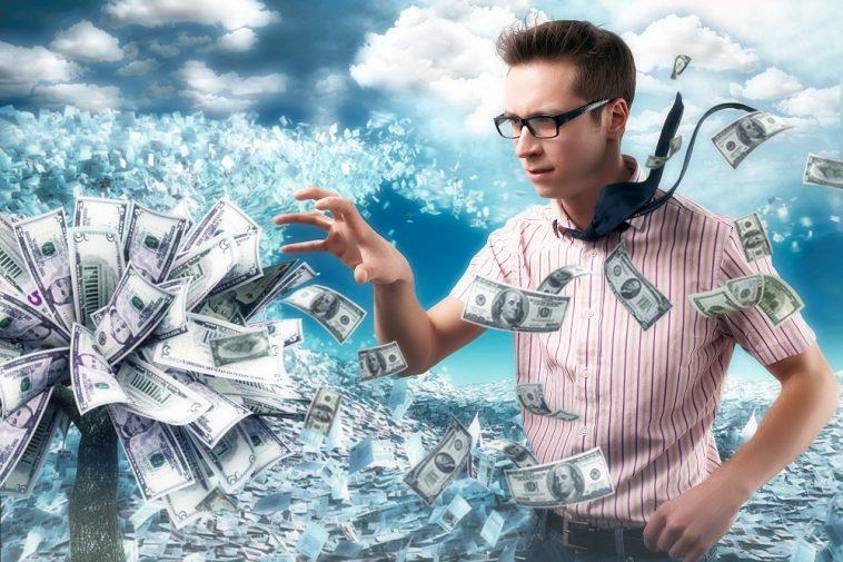 Árvore de dinheiro e trabalhador