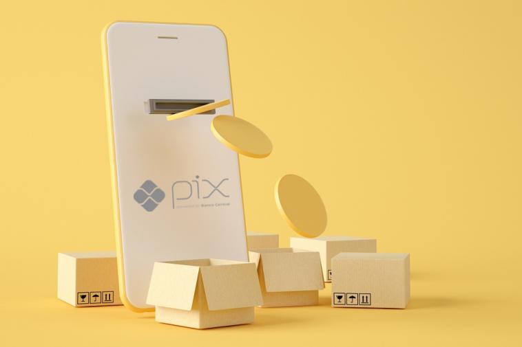Ilustração 3D. Pagamento móvel com PIX no Brasil