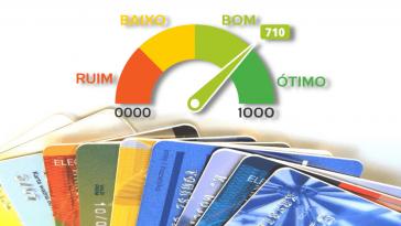 Um punhado de cartões ao fundo, com as pontuações de score de crédito por cima, no formato de velocímetro