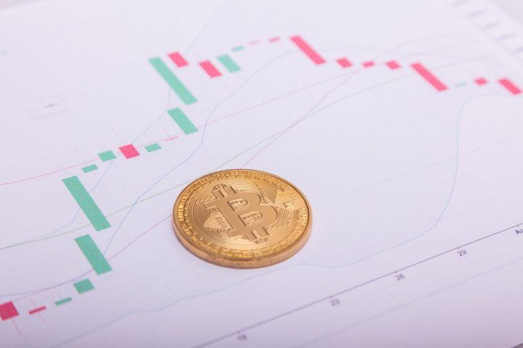 Bitcoin btc moeda criptográfica em um gráfico de negociação