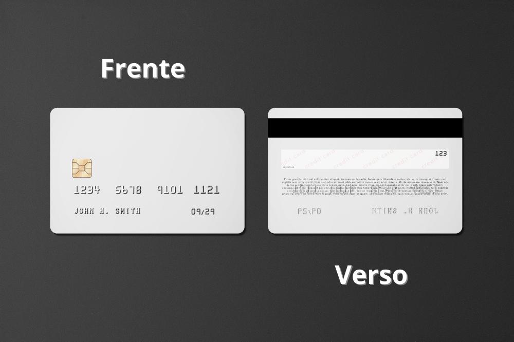 Frente e verso de um cartão de crédito