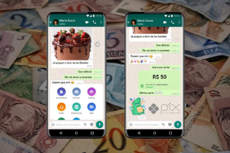 imagem de notas de dinheiro em real ao fundo e a frente dois celulares mostrando a tela de quem envia e quem recebe pix pelo whatsapp