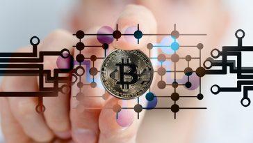 mão segurando uma Bitcoin ao fundo